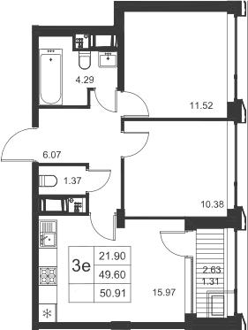 3-к.кв (евро), 52.22 м²