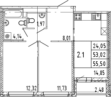 3Е-комнатная, 54.26 м²– 2