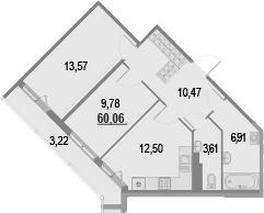 2-к.кв, 63.28 м²