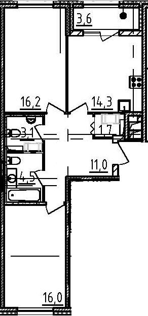 2-к.кв, 68.6 м²