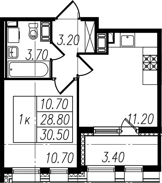 2Е-к.кв, 28.8 м²