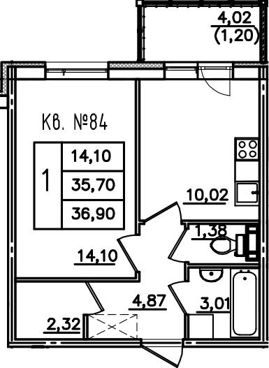 1-к.кв, 39.7 м²
