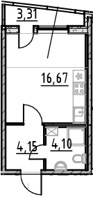 Студия, 28.23 м²