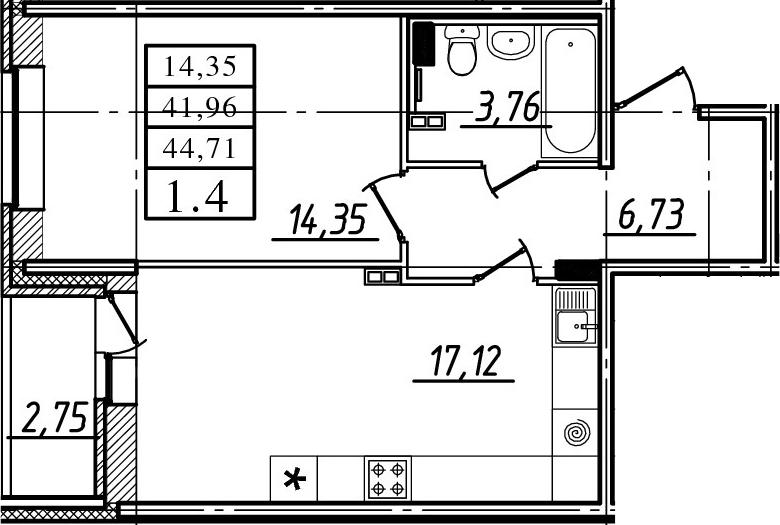 2-к.кв (евро), 44.71 м²