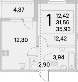 1-к.кв, 33.75 м², 2 этаж