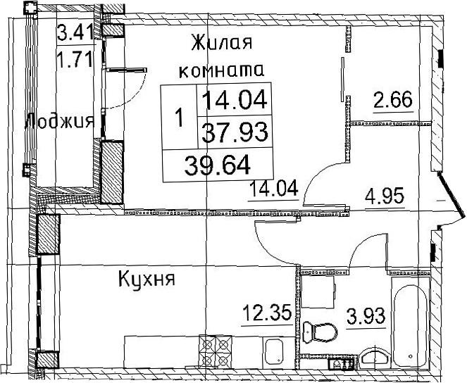 1-к.кв, 41.35 м²