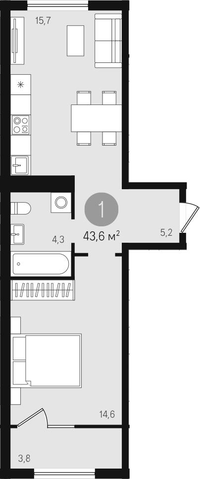 2Е-к.кв, 43.6 м²