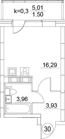 Студия, 25.68 м², 5 этаж