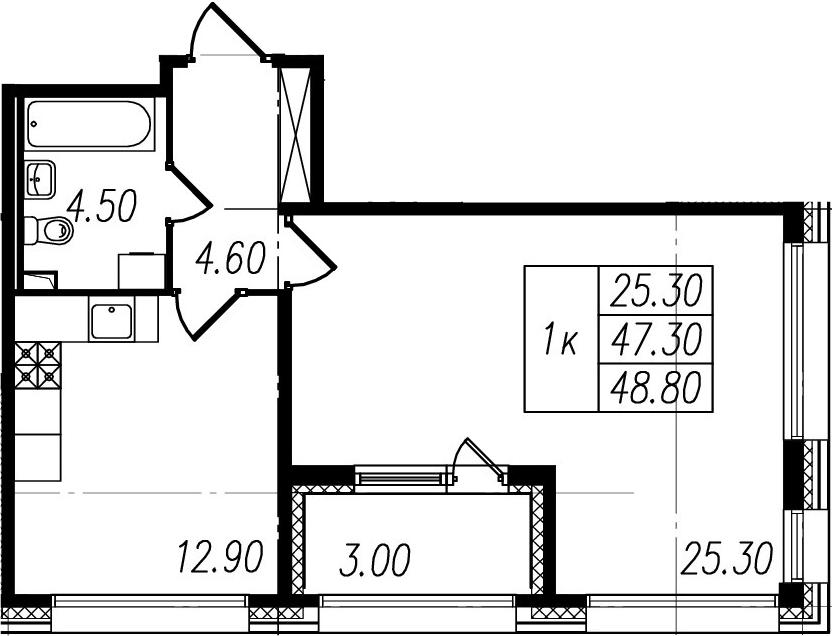 1-комнатная, 47.3 м²– 2