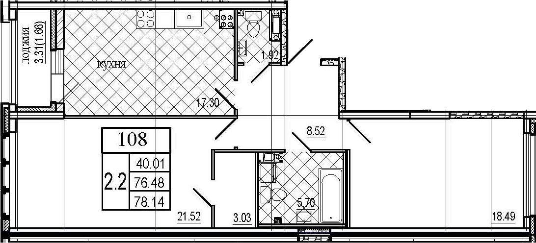3Е-к.кв, 78.14 м²