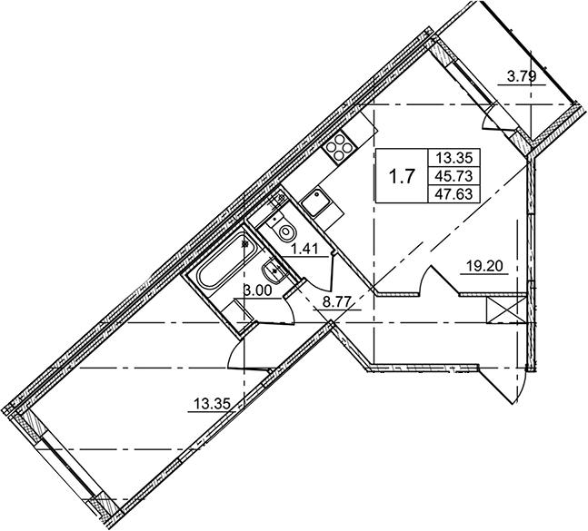 2Е-комнатная, 47.63 м²– 2