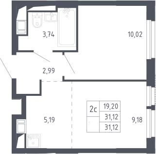 2Е-к.кв, 31.12 м²