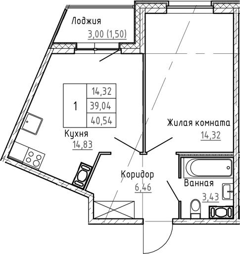 2Е-к.кв, 40.54 м², 2 этаж