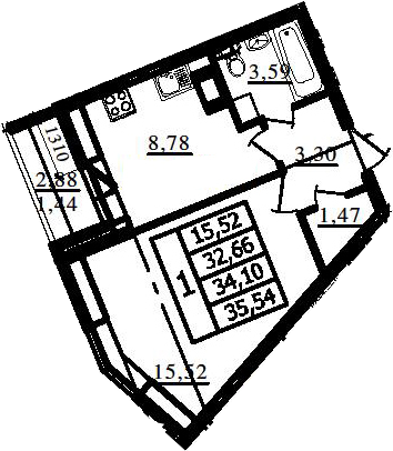 1-комнатная, 32.66 м²– 2