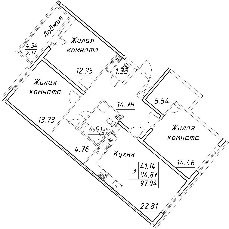 4Е-комнатная, 97.04 м²– 2