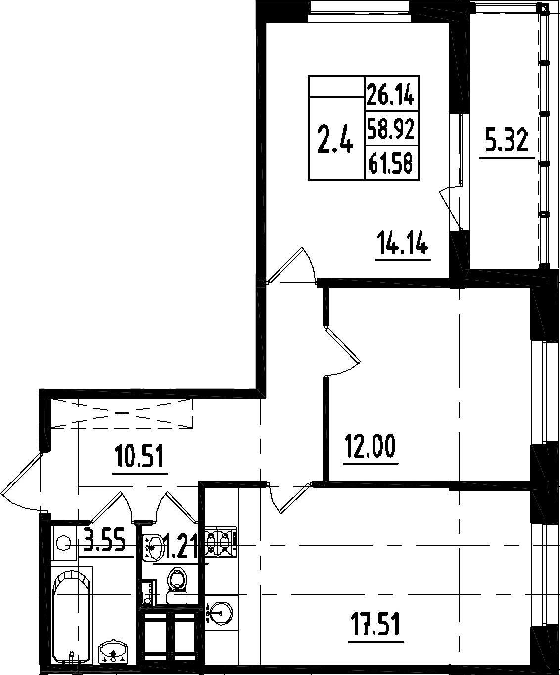 3-к.кв (евро), 64.24 м²