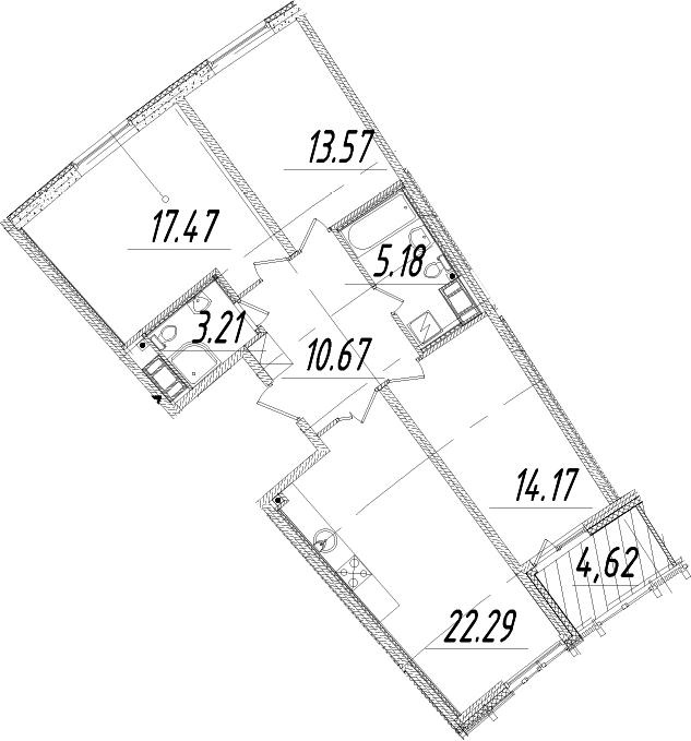 4Е-к.кв, 88.87 м², от 11 этажа