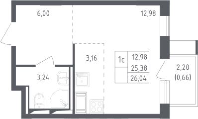Студия, 26.04 м², 13 этаж