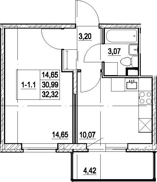 1-к.кв, 35.41 м²