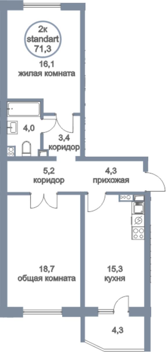 3Е-к.кв, 71.3 м²