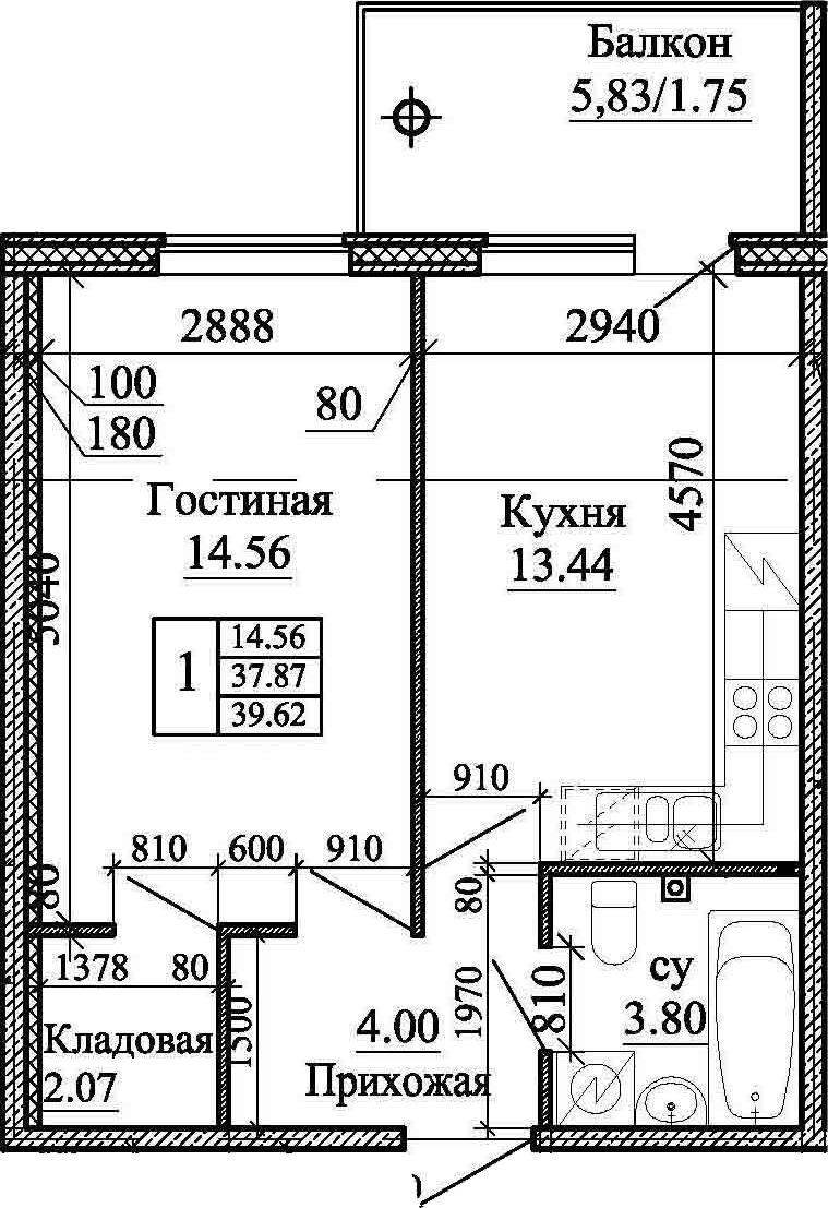 1-комнатная, 39.62 м²– 2