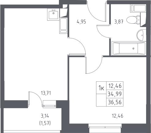 1-к.кв, 36.56 м², 5 этаж