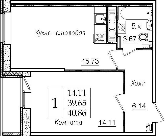 2Е-комнатная, 40.86 м²– 2