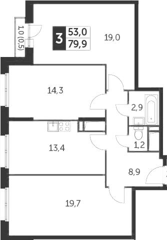 3-к.кв, 79.9 м², 5 этаж