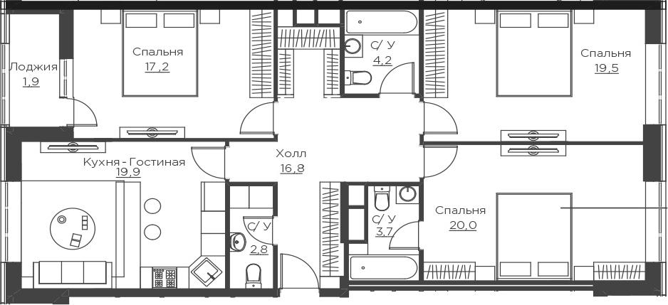 4Е-к.кв, 106 м²