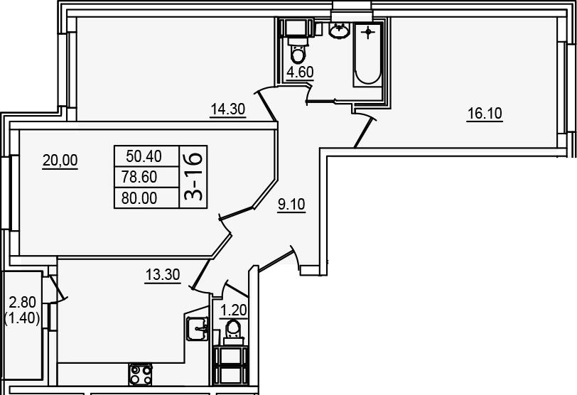 3-к.кв, 80 м², от 14 этажа