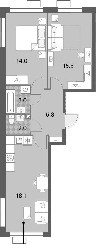 2-к.кв, 59.2 м², от 18 этажа