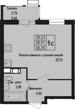 Студия, 30.25 м²– 2