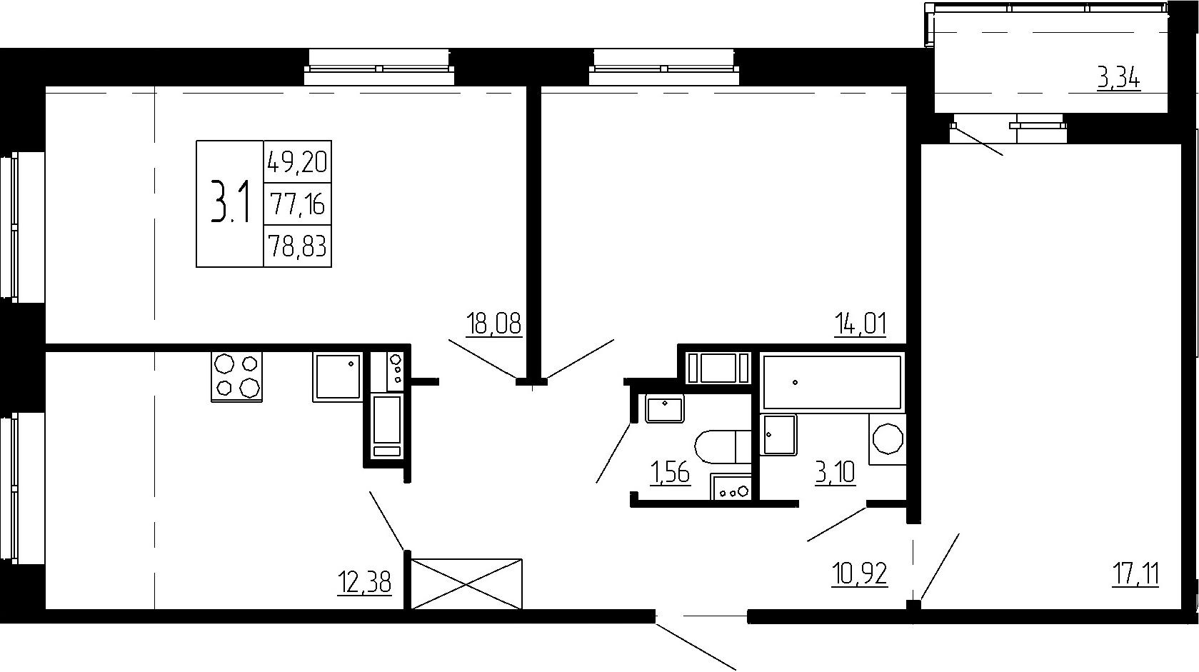 3-к.кв, 77.16 м²