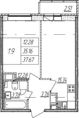 2Е-к.кв, 35.16 м², 11 этаж