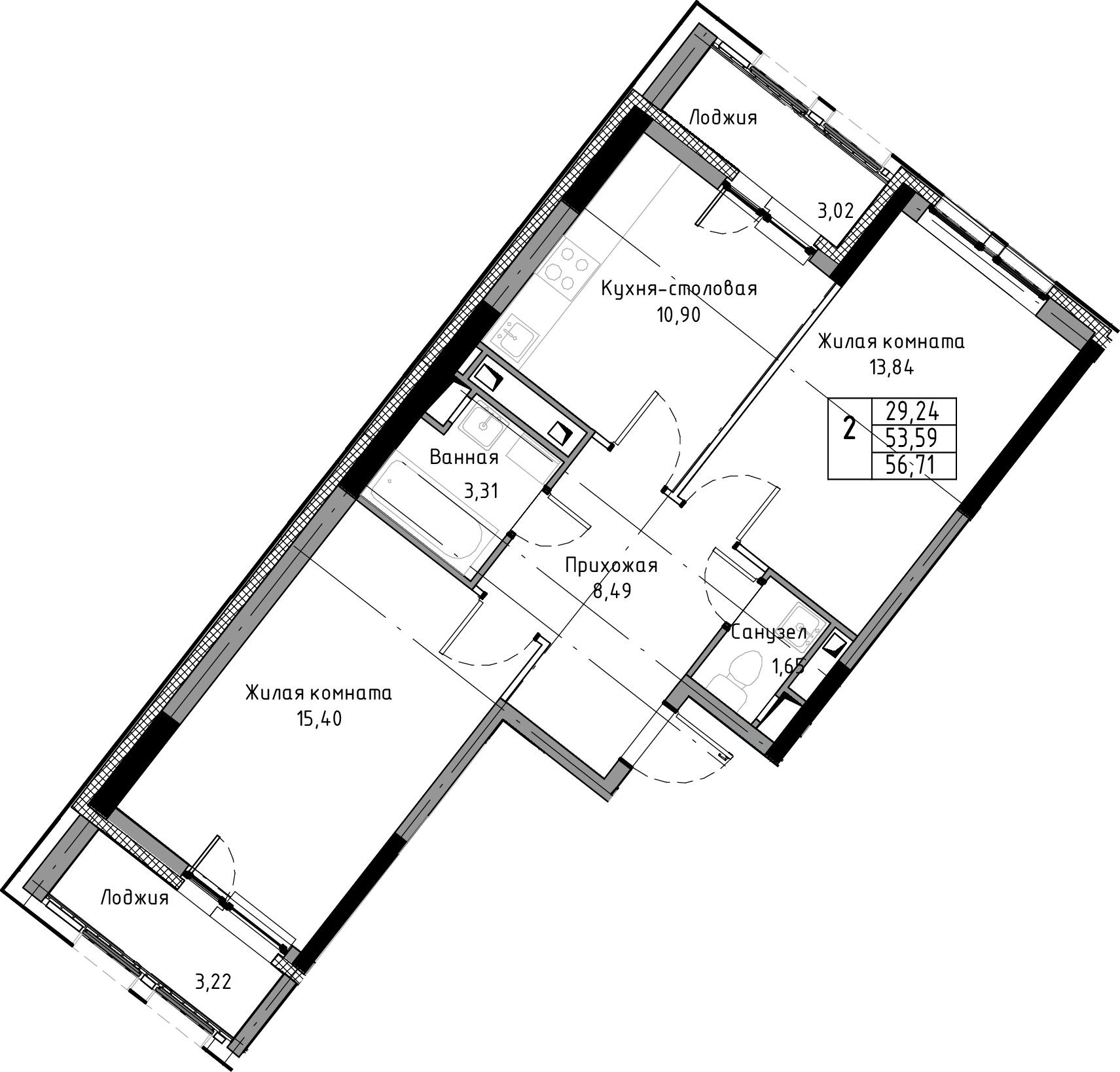 2-к.кв, 56.71 м², 3 этаж