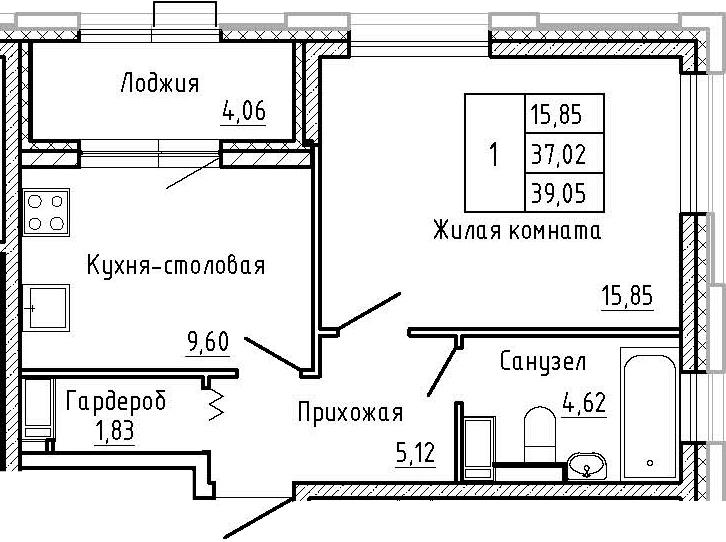 1-к.кв, 39.05 м², 2 этаж