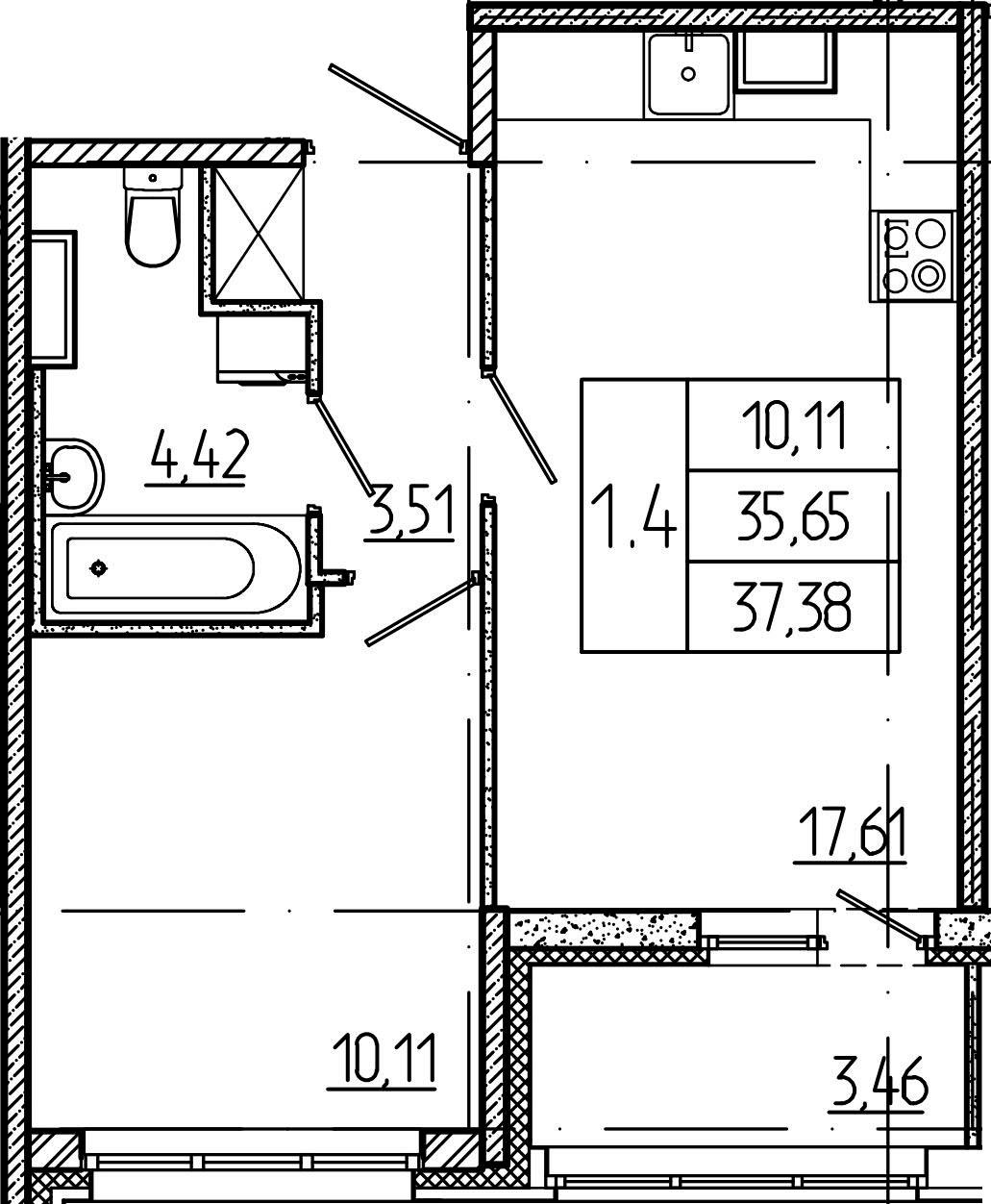 2Е-комнатная, 35.65 м²– 2