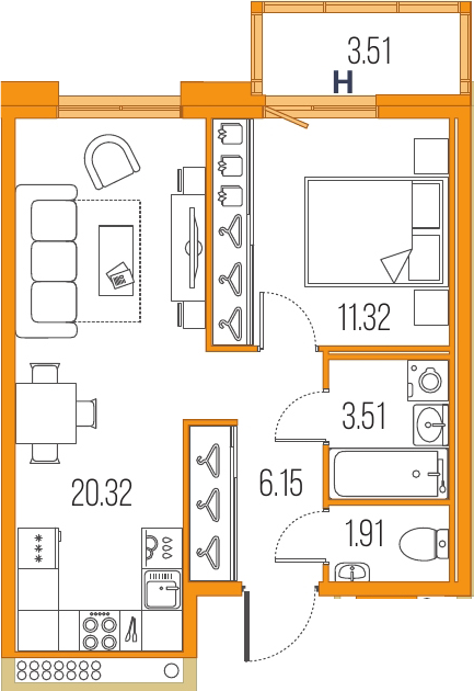 2Е-к.кв, 43.21 м²