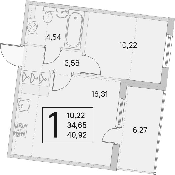 2Е-к.кв, 34.65 м², 2 этаж