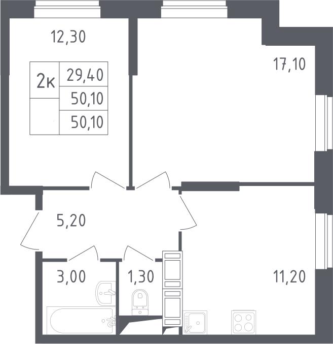 2-комнатная, 50.1 м²– 2
