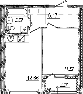 1-к.кв, 35.18 м², 2 этаж