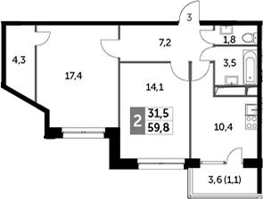 2-к.кв, 59.8 м²