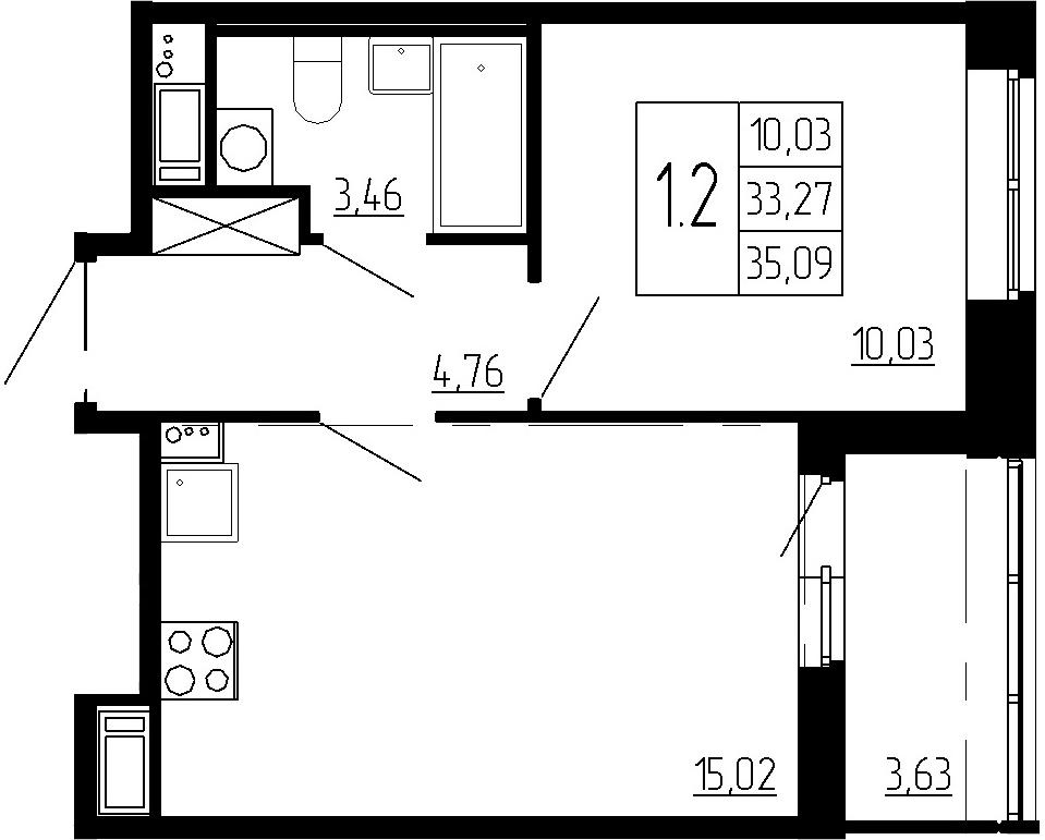 2-к.кв (евро), 36.9 м²
