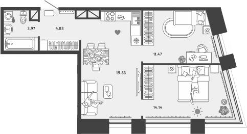3-к.кв (евро), 54.24 м²