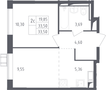 2-к.кв (евро), 33.5 м²