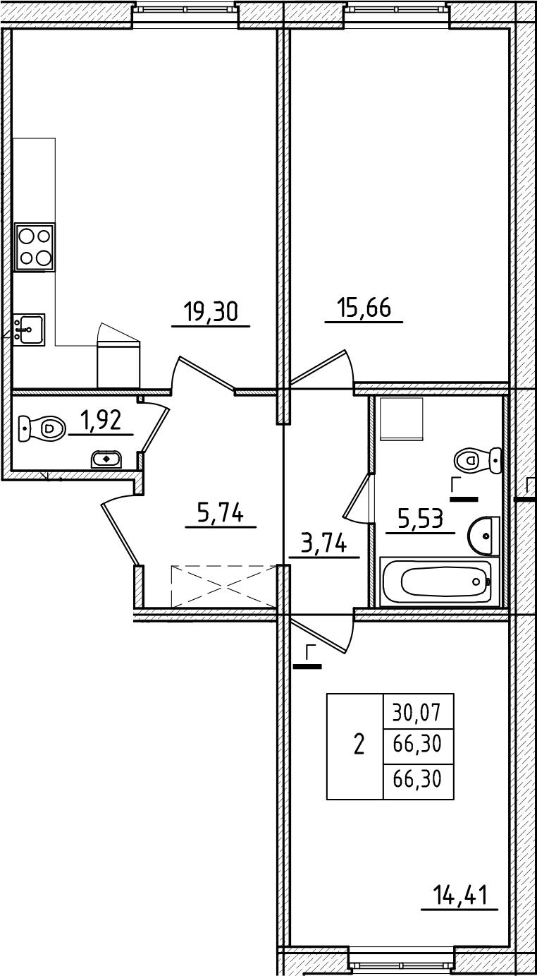 3Е-к.кв, 66.3 м², 1 этаж