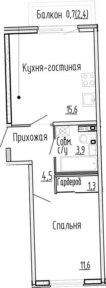 2Е-к.кв, 36.9 м², 1 этаж