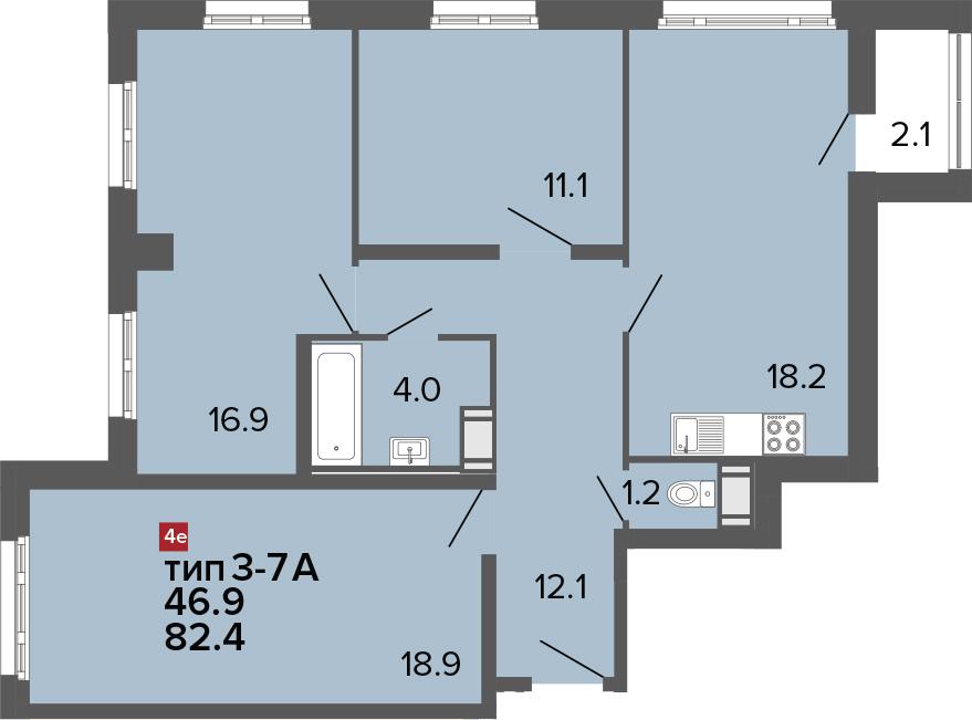 4-к.кв (евро), 83.7 м²