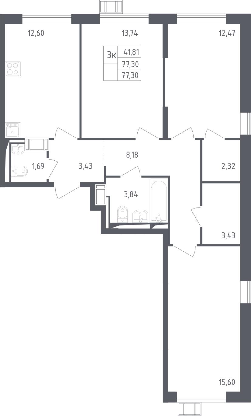 3-комнатная, 77.3 м²– 2