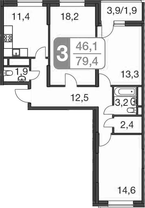 3-комнатная, 79.4 м²– 2